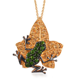 GP 2.27 Ct Russian Diopside and Multi Gemstone Frog on Maple Leaf Cluster Pendant with Chain in Gold