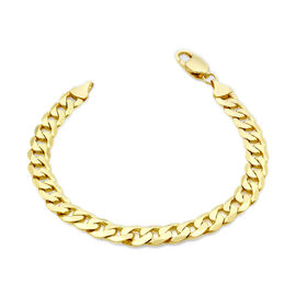 9K Yellow Gold Diamond Cut Curb Bracelet (Size 8) with Lobster Clasp, Gold wt 12.80 Gms