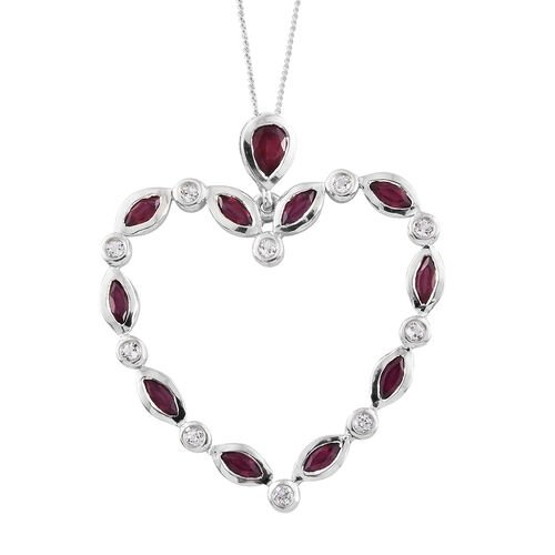 African Ruby (Pear), White Topaz Heart Pendant with Chain in Platinum Overlay Sterling Silver 3.000 Ct. Silver wt 5.46 Gms.