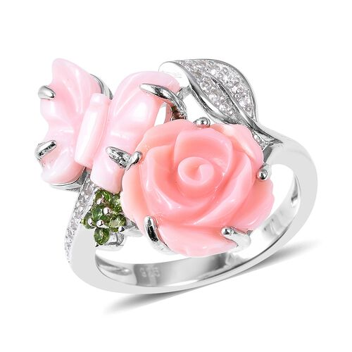 Jardin Collection - Pink and White Mother of Pearl, Russian Diopside and Natural White Cambodian Zir