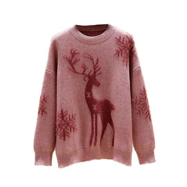 Kris Ana Christmas Reindeer Wool Mix Jumper One Size (8-16) - Pink