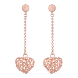 RACHEL GALLEY Rose Gold Overlay Sterling Silver Lattice Heart Earrings (with Push Back), Silver wt.
