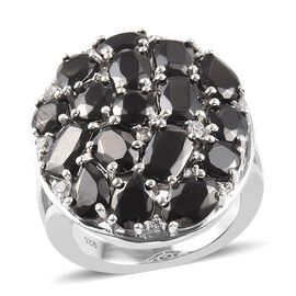 Elite Shungite and Natural Cambodian Zircon Cluster Ring in Platinum Overlay Sterling Silver 5.16 Ct
