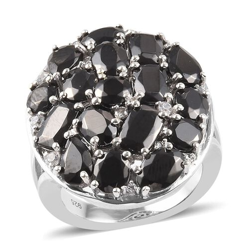 5.16 Ct Elite Shungite and Zircon Cluster Ring in Platinum Plated Sterling Silver