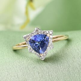 GP Italian Garden Collection 9K Yellow Gold  Tanzanite, Diamond and Kanchanaburi Blue Sapphire Ring 1.10 Ct.