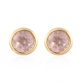 Rose Quartz Stud Earrings (with Push Back) in Platinum Overlay Sterling Silver 1.34 Ct.