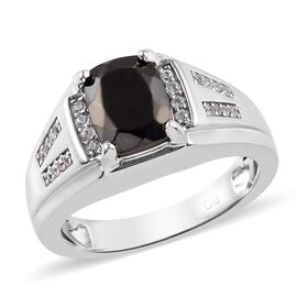 Elite Shungite (Cush 9x7mm), Natural Cambodian Zircon Ring in Platinum Plated 2.305 Ct.