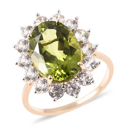Signature Collection Hebei Peridot and Zircon Ring in 9K Yellow Gold,7.75 Ct