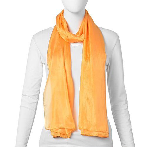 100% Mulberry Silk Orange Colour Scarf (Size 180X100 Cm)