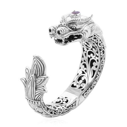 Royal Bali Collection - African Ruby Dragon Hinged Cuff Bangle (Size 7.5) in Sterling Silver, Silver wt 97.00 Gms