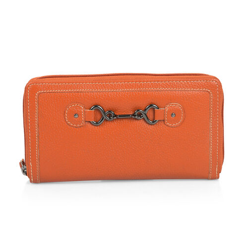 Design Look Horsebit Logo 100% Genuine Leather Orange Clutch Wallet with RFID Blocking (Size 19x2.5x10 cm Large phone can fit in )
