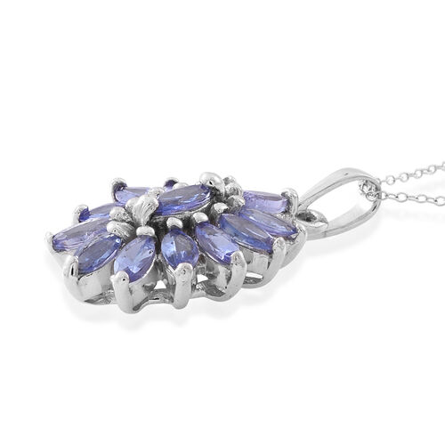 Tanzanite (Mrq) Floral Pendant With Chain in Rhodium Plated Sterling Silver 1.750 Ct.