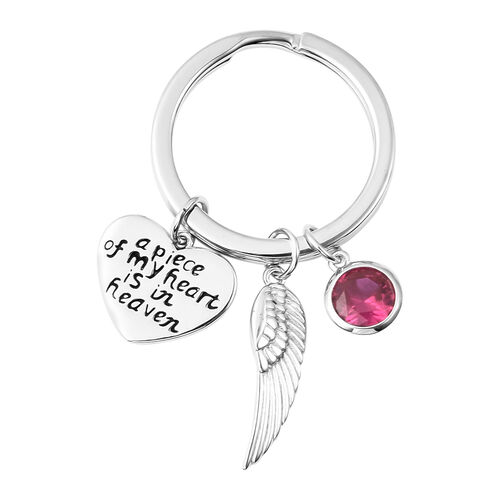 Charms De Memoire Sterling Silver Simulated Ruby, Angel Wing and Heart Charms in Key Chain