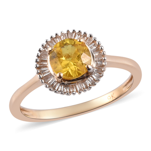 Collectors Edition 9K Yellow Gold Yellow Sapphire and Diamond Halo Ring 1.25 Ct.