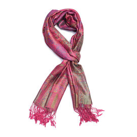 SILK MARK - 100% Superfine Silk Fuschia, Green and Multi Colour Jacquard Jamawar Scarf with Fringes