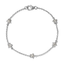Kanchanaburi Blue Sapphire, Diamond Beads Bracelet (Size - 7.5) in Platinum Overlay Sterling Silver