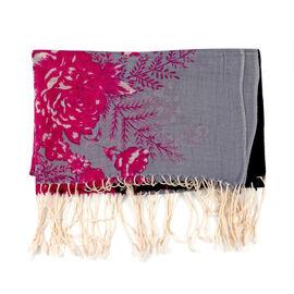 100% Merino Wool Floral Pattern Scarf - Wine