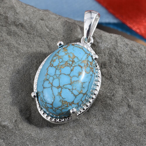 Mojave Blue Turquoise (Ovl 18x13 mm) Pendant in Sterling Silver 12.000 Ct.