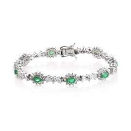 8.5 Ct Zambian Emerald and White Topaz Bracelet in Platinum Plated Sterling Silver 14.04 Grams
