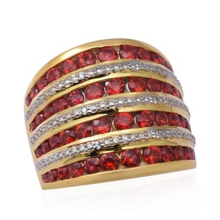 Red Sapphire (Rnd) and Natural Cambodian Zircon Ring in 14K Gold and Platinum Overlay Sterling Silve