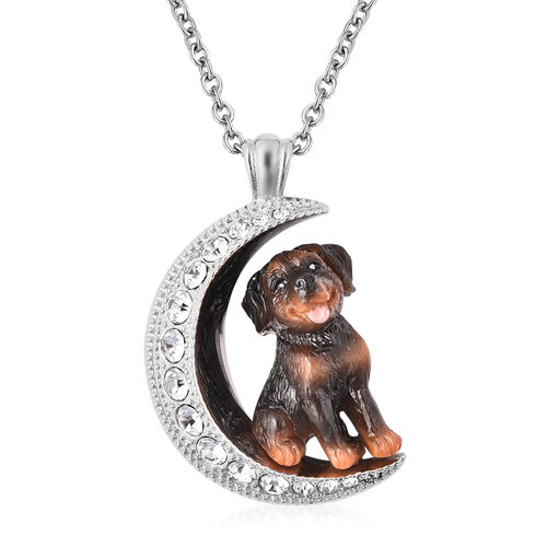 White Austrian Crystal Engraved Moon and Enamelled Rottweiler Dog Pendant with Chain (Size 20) in St