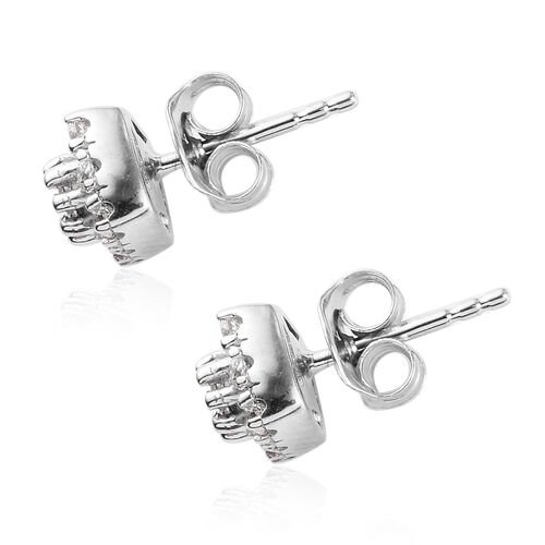 J Francis - Platinum Overlay Sterling Silver Stud Earrings (with Push Back) Made with SWAROVSKI ZIRCONIA 1.00 Ct.