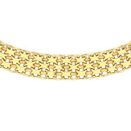 Italian Made 9K Y Gold Graduated Bismark Necklace (Size 17), Gold wt 6.80 Gms.