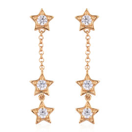 J Francis - 14K Gold Overlay Sterling Silver (Rnd) Star Earrings (with Push Back) Made With SWAROVSKI ZIRCONIA