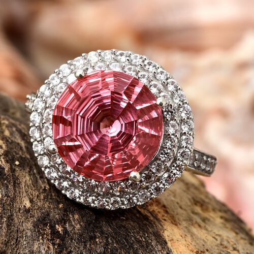 Extremely Rare Laser Cut Padparadscha Quartz (Rnd 8.00 Ct), Natural Cambodian Zircon Ring in Platinum Overlay Sterling Silver 9.000 Ct. Silver wt 5.59 Gms.
