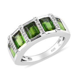 Russian Diopside (Oct), Natural Cambodian Zircon Half Eternity Ring in Platinum Overlay Sterling Sil