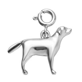 Platinum Overlay Sterling Silver Dog Charm, Silver wt 3.15 Gms