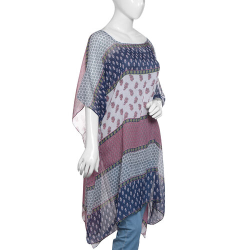 Off White, Navy Blue and Multi Colour Floral and Stripes Printed Kaftan (Size 85x65 Cm)