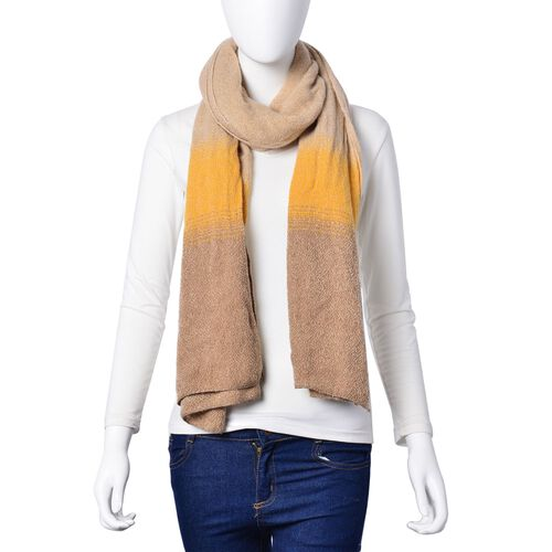 Khaki and Yellow Colour Scarf (Size 190x65 Cm)