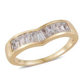 J Francis Made with SWAROVSKI ZIRCONIA Wishbone Ring in 9K Gold 2.70 grams
