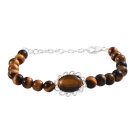 41.75 Ct Tigers Eye Beaded  Bracelet in Sterling Silver 3.50 Grams Size 7.5 with Extender