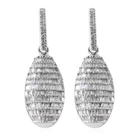 Diamond (Rnd and Bgt) Earrings (with Push Back) in Platinum Overlay Sterling Silver 1.00 Ct,