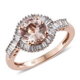 Moroppino Morganite (1.15 Ct) and Diamond 9K R Gold Ring  1.500  Ct.