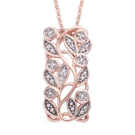 Diamond (Rnd) Leaves Pendant With Chain (Size 20) in Rose Gold Overlay Sterling Silver