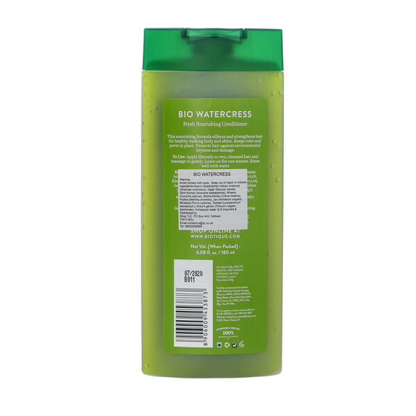 Biotique Bio Watercress 100% Ayurvedic Fresh Nourishing Conditioner For Dry, Damaged & Colour Treated Hair 180ml