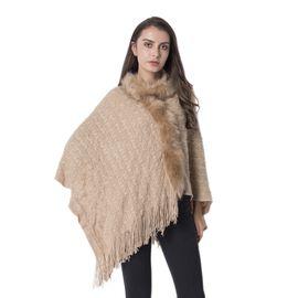 Chevron Pattern Faux Fur Collar Poncho with Tassels (Size 70x65 Cm) Colour Tan
