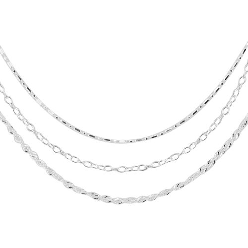 New York Close Out - 3 Piece Set Sterling Silver Chains (Size 18)