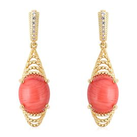 Living Coral (Ovl 12x10 mm), Natural White Cambodian Zircon Earrings (with Push Back) in Yellow Gold