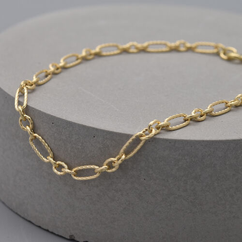 Italian Made - 9K Yellow Gold Figaro Bracelet (Size 7.5)