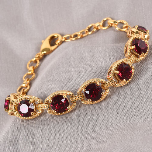J Francis Crystal from Swarovski Ruby Colour Crystal Bracelet (Size 7.5 with Extender) in 18K Yellow Gold Tone