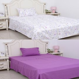 6 Piece Set  - 2 Fitted Sheet (Size 190x90+30 Cm), 2 Flat Sheet (Size 180x265 )and 2 Pillow Case (Si