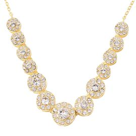 J Francis - Crystal from Swarovski White Crystal (Rnd) Necklace (Size 18) in Yellow Gold Overlay Ste