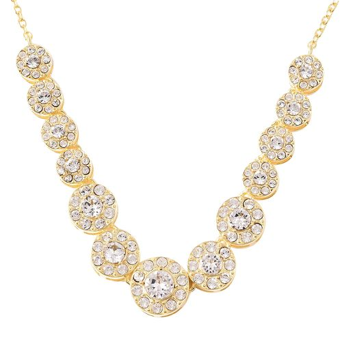 J Francis White Colour Crystal from Swarovski 18 Inch Necklace in Gold Plated Silver