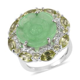 Green Jade, Hebei Peridot and Natural Cambodian White Zircon Carved Jade Ring in Rhodium Overlay Ste