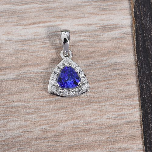 RHAPSODY 950 Platinum AAAA Tanzanite (Trl), Diamond (VS/E-F) Pendant 0.60 Ct.