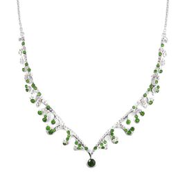LucyQ Russian Diopside (Rnd), Natural White Cambodian Zircon Necklace (Size 20) in Rhodium Overlay S